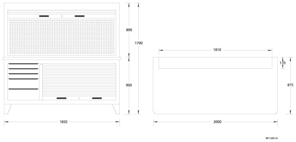 gedore br 1500 lh kombination werkbank mit schrank. Black Bedroom Furniture Sets. Home Design Ideas